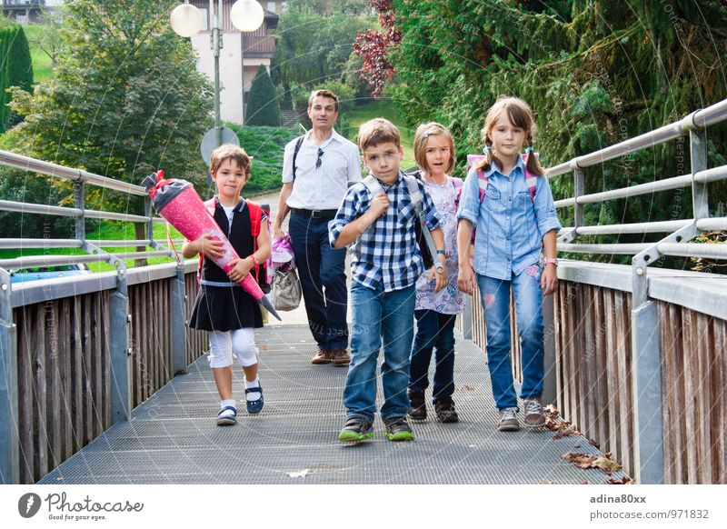School children, first day of school Parenting Education Student Child Father Adults Family & Relations Friendship Walking Study Optimism Responsibility
