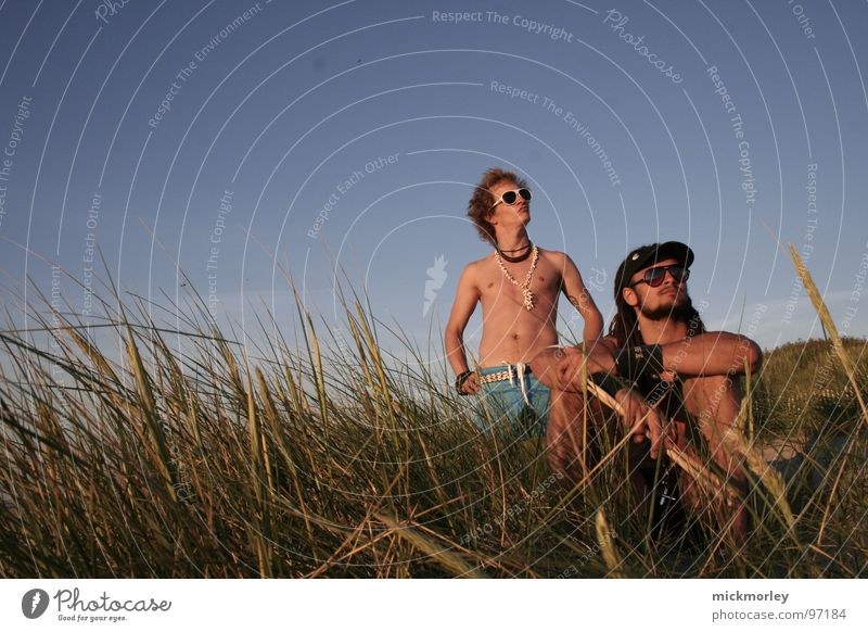surfer rockers chillin in the sun Rock'n'Roll Surfer Waves Vacation & Travel Stomach Cool (slang) Grass France Eyeglasses Sunglasses Drummer Art Culture String