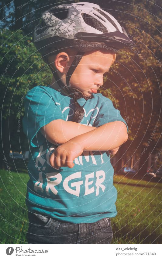 Human being Child Blue Green White Summer Sun Tree Sadness Grass Boy (child) Sports Playing Masculine Bushes Infancy