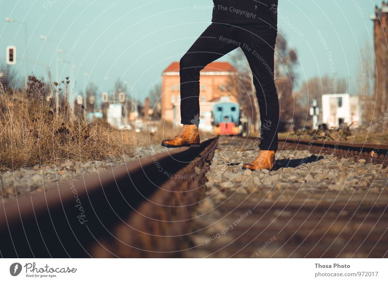 Sun Black Lighting Railroad Harbour Hip & trendy Railroad tracks Train station Boots Magdeburg