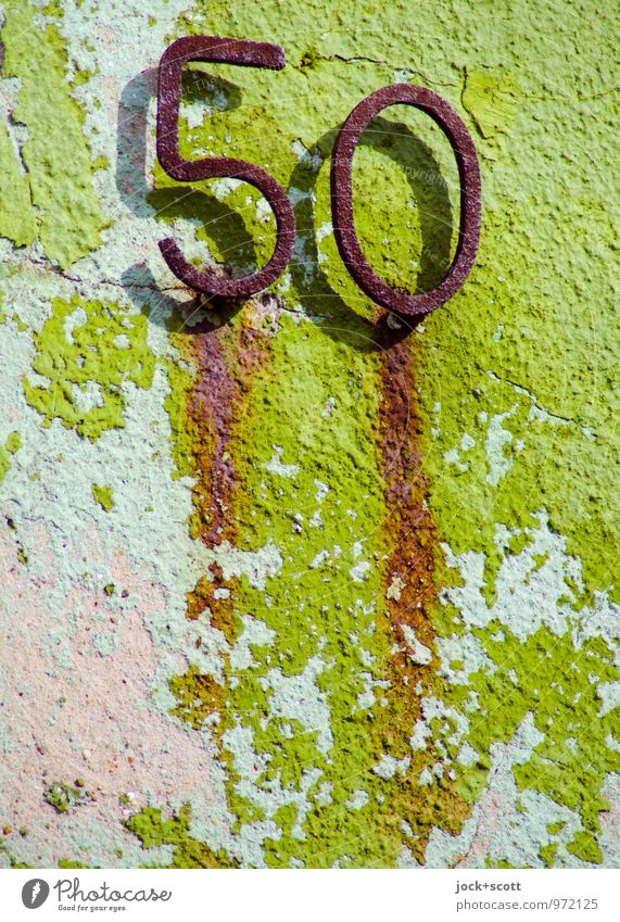 lucky age Save Birthday Arts and crafts  Saarland Wall (barrier) Wall (building) Plaster Metal Rust 50 Simple Firm Retro Green Honor Bravery Boredom Eternity