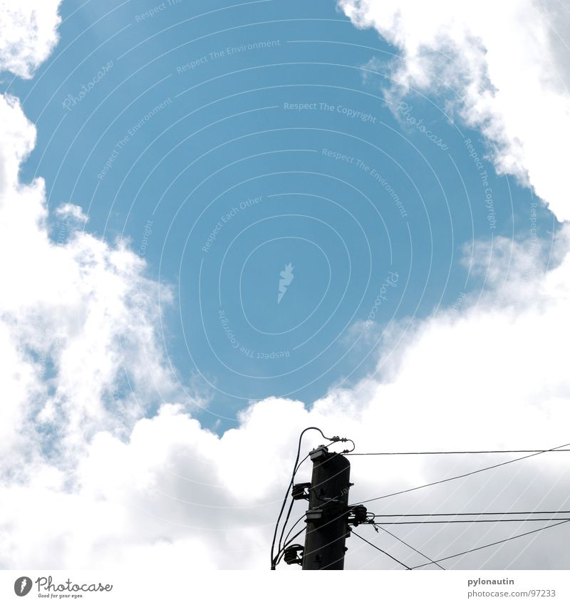 Streamlined one Clouds Electricity White Electricity pylon Sky Blue Cable Technology