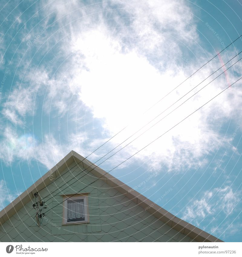 Sky White Blue House (Residential Structure) Clouds Window Electricity Technology Cable Turquoise Electricity pylon