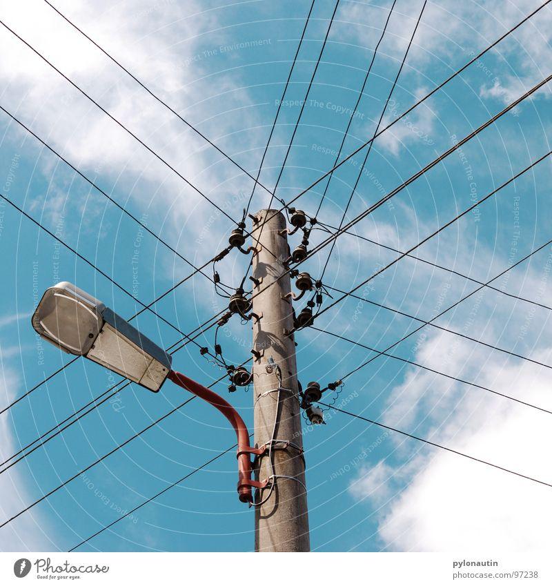 Sky White Blue Clouds Electricity Technology Cable Lantern Electricity pylon Street lighting