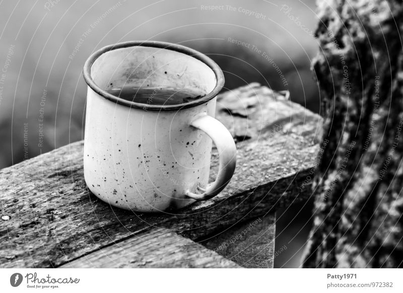 """enamel mug Cup Mug Enamel tin cup Old Dirty Loneliness Forget Decline Transience """"cup black-and-white Break time-out Close-up Coffee break tea break relax"""
