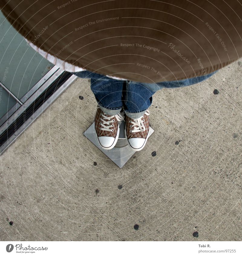 Chucks at the bottom Footwear Shoelace Fat Pants Clothing Dance floor Brown Concrete Bird's-eye view Wide angle Self portrait Under Fishing rod