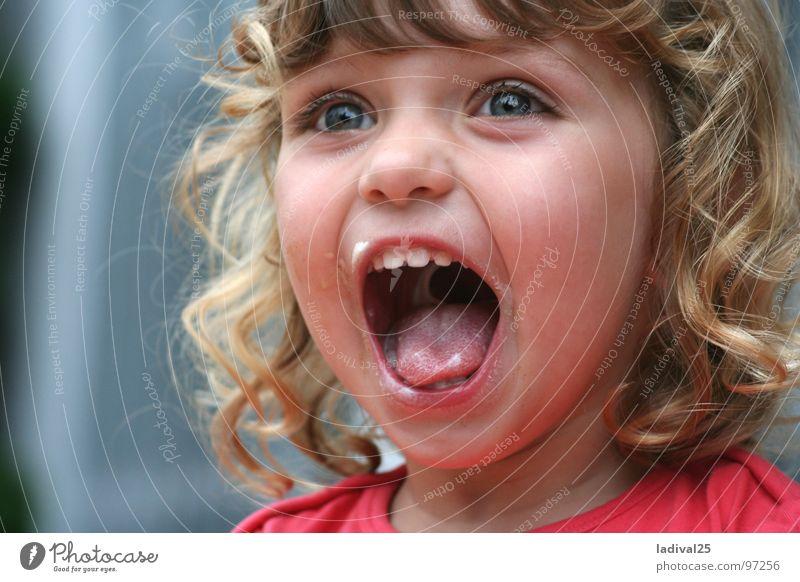 Joy Girl Small Blonde Mouth Toddler Curl Scream Dinner Dessert Child Meal