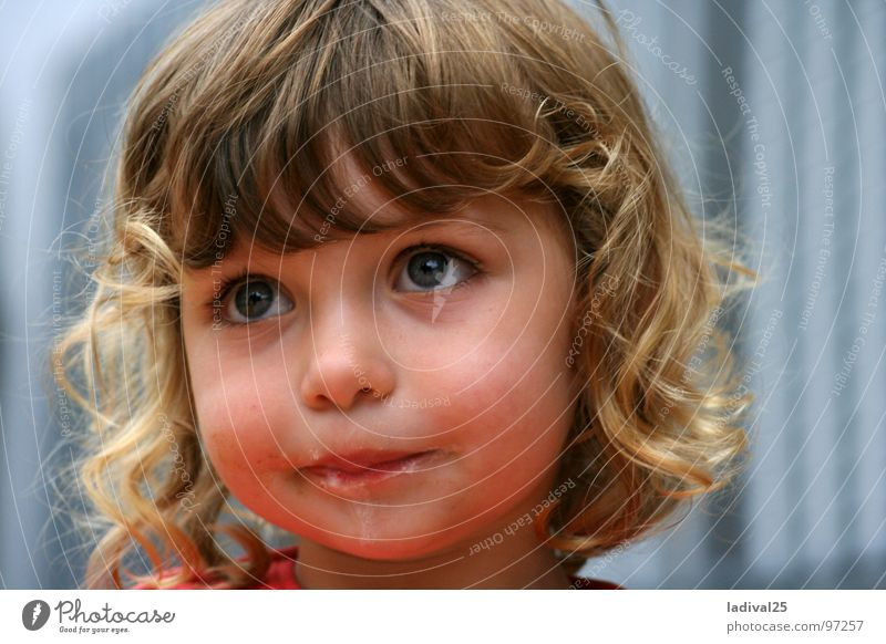 Child Joy Girl Eyes Small Ice Blonde Frost Toddler Curl Dessert Face To have a coffee