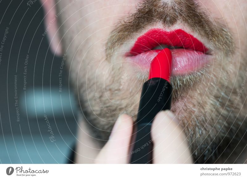 Human being Man Red Eroticism Adults Feminine Masculine Mouth Lips Facial hair Cosmetics Make-up Homosexual Lipstick Rebellious Cliche