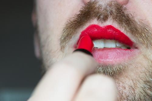 Human being Man Beautiful Red Eroticism Adults Feminine Masculine Mouth Lips Facial hair Cosmetics Make-up Homosexual Lipstick Rebellious
