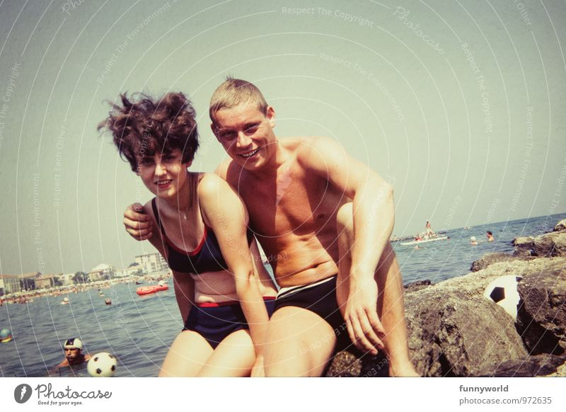 Human being Vacation & Travel Youth (Young adults) Young woman Ocean Young man 18 - 30 years Adults Couple Touch Retro Summer vacation Partner Sixties
