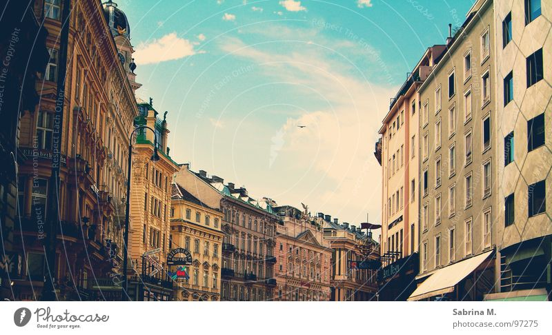 Old Sky City House (Residential Structure) Clouds Street Europe Romance Historic Traffic infrastructure Nostalgia Vienna Austria Old town