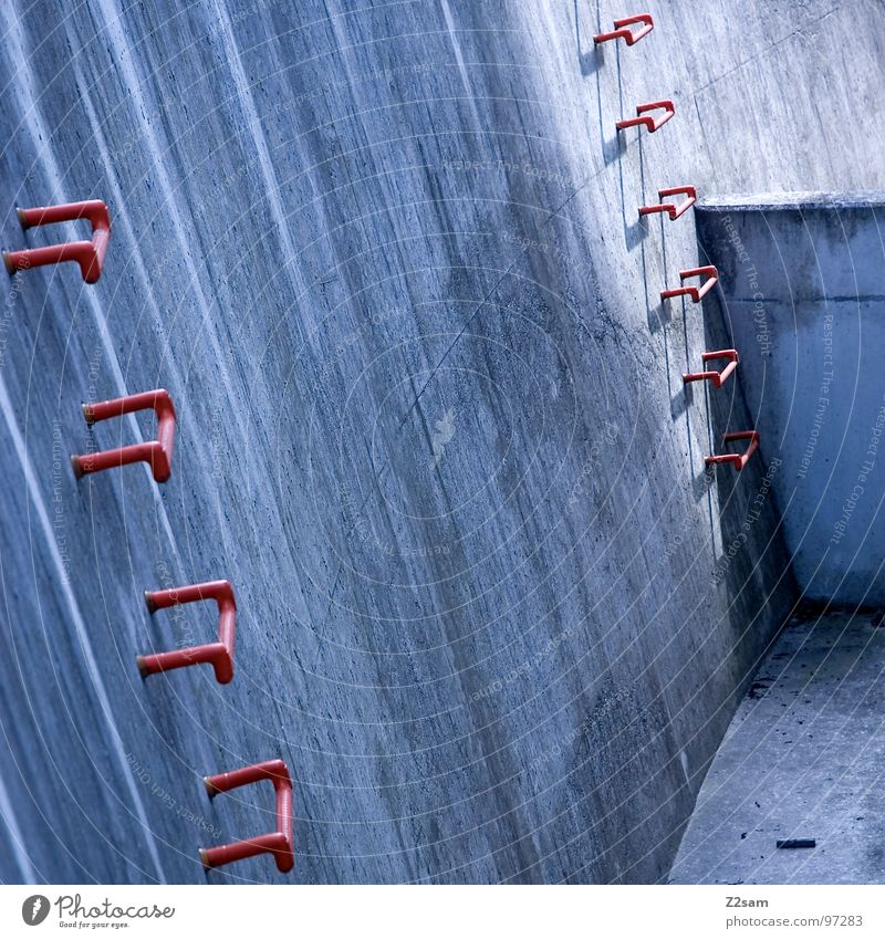 Blue Red Wall (building) Above Dirty Concrete Modern Simple Climbing Upward Ascending Downward Graphic Drainage Ladder