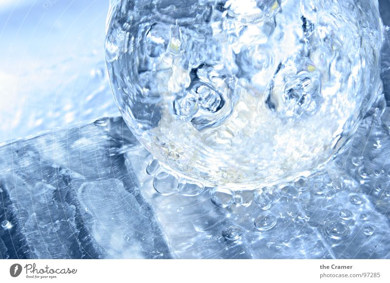 water ball Drops of water Inject Fresh Wet Bathroom Chrome Water Sphere Glass Blue Bright cold metal drop splash Cool (slang) Take a shower