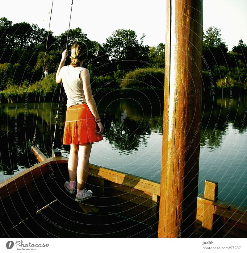 Woman Water Ocean Summer Vacation & Travel Lake Watercraft Horizon Longing Sailing Navigation Pond Wanderlust Sailboat In transit Pirate