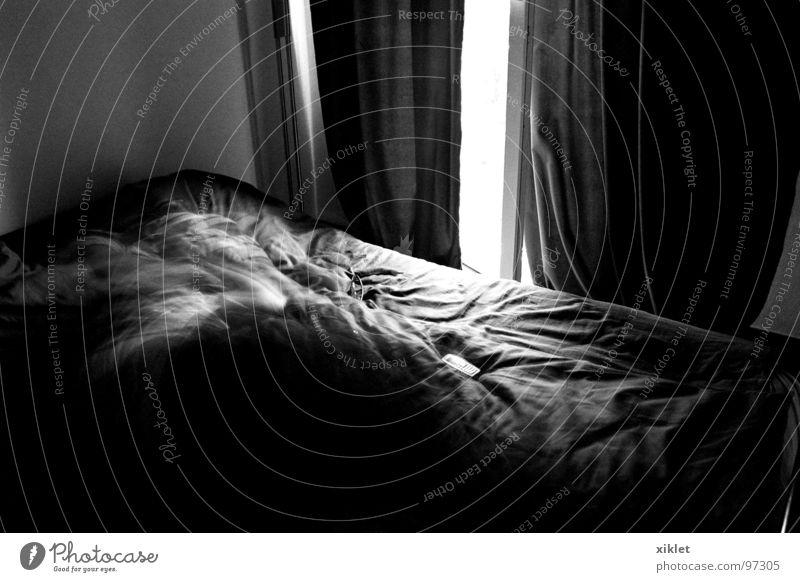 bed Bed Duvet Black & white photo Dark Shaft of light Calm Sleep Bedroom Motion blur Peaceful Drape Curtain Window Interior shot
