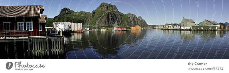 Water Sky Ocean House (Residential Structure) Clouds Mountain Coast Large Horizon Island Harbour Navigation Norway Panorama (Format) Nature Lofotes