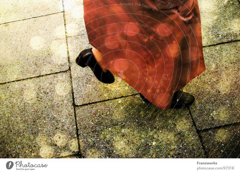 Woman Old Beautiful Sun Lanes & trails Stone Legs Dream Time Going Sidewalk Lady Coat Fairy tale In transit Point of light
