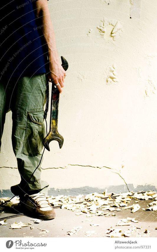 man at work Craftsperson Work and employment Screw wrench Repair Rebuild Construction site Key Man Craft (trade) Plaster Wall (building) Derelict Duty Broken