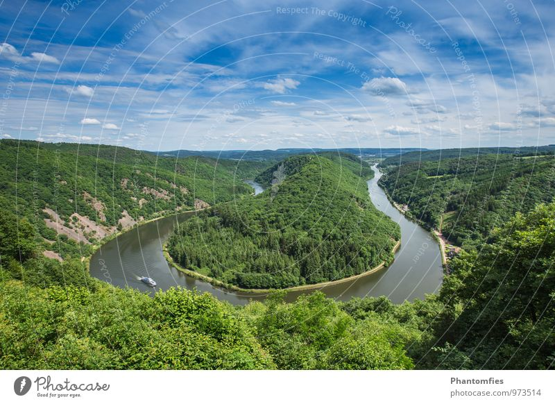 Saar loop Nature Landscape Water Sky Clouds Summer Beautiful weather Forest River Orscholz Germany Tourist Attraction Traffic infrastructure Inland navigation