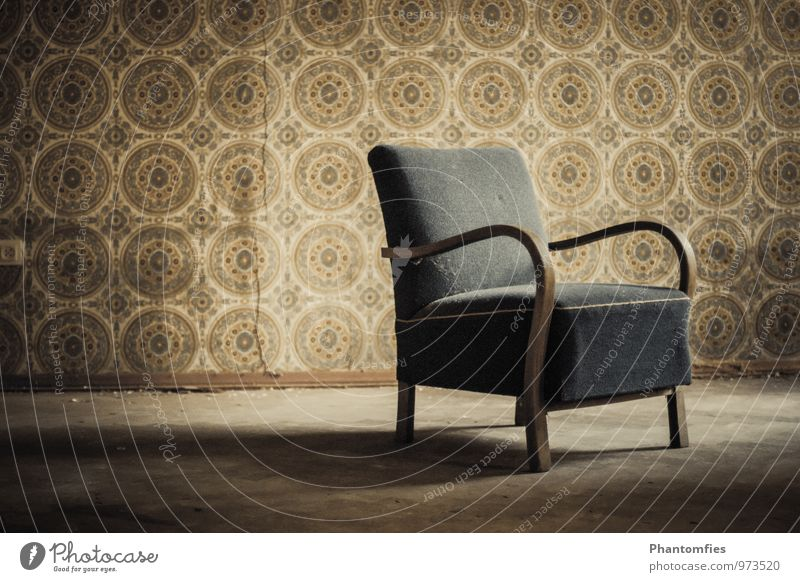 old chair Armchair Wood Old Dark Historic Brown Moody Longing Homesickness Loneliness Senior citizen Poverty End Fiasco Far-off places Death Grief Sadness Time