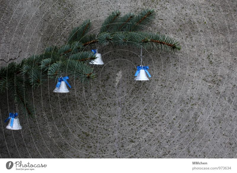 little bell Feasts & Celebrations Christmas & Advent Plant Twig Branch Bell Concrete Metal Hang Listening Blue Gray Green Silver Joy Happy Caution Serene