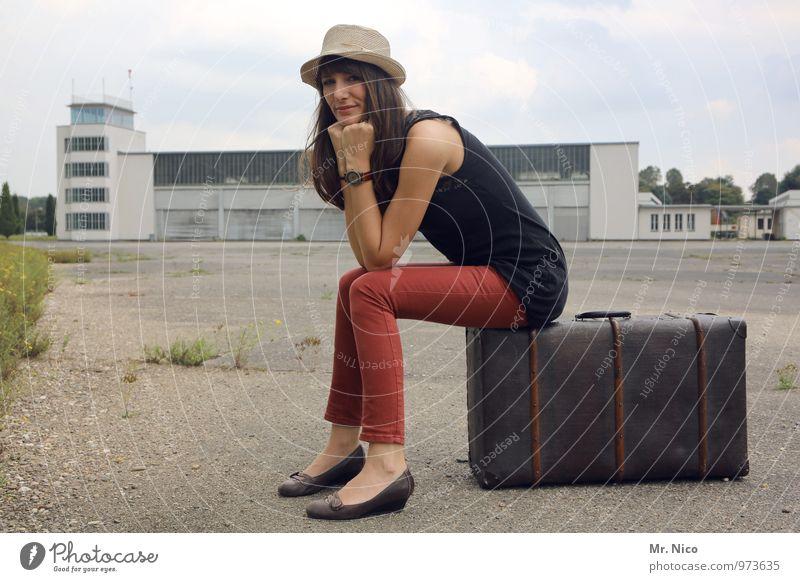 Vacation & Travel Red Environment Architecture Feminine Building Fashion Lifestyle Tourism Sit Wait Trip Posture Hip & trendy Hat Brunette