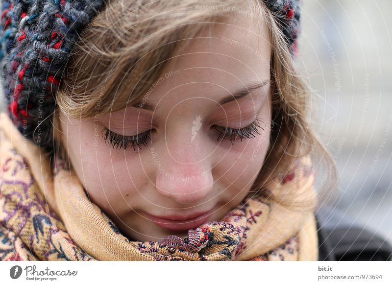 Human being Youth (Young adults) Young woman Feminine Happy Head Scarf Winter mood