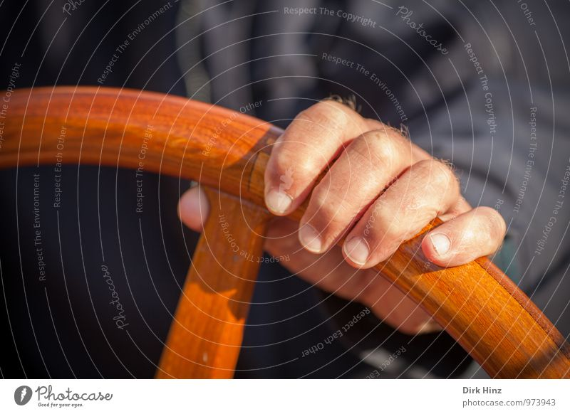 hand at the wheel Human being Masculine Man Adults Hand Fingers 1 Navigation Boating trip Sport boats Motorboat Sailboat Movement Rotate Driving To hold on Blue