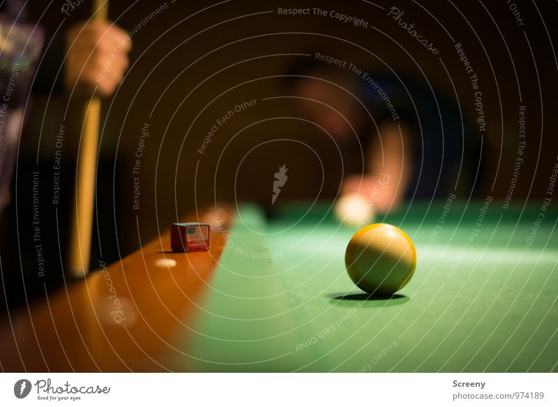 I can do it easily... Leisure and hobbies Playing Pool (game) Pool billard Billard bowle Queue Chalk Sports Round Yellow Green White Self-confident Optimism Joy