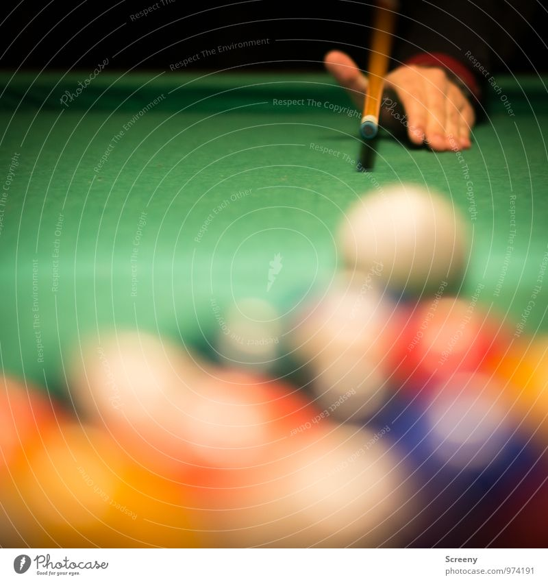 targeted Leisure and hobbies Playing Billard bowle Queue Sports Pool (game) Pool billard Hand Multicoloured Green Joy Sporting event Aim Colour photo