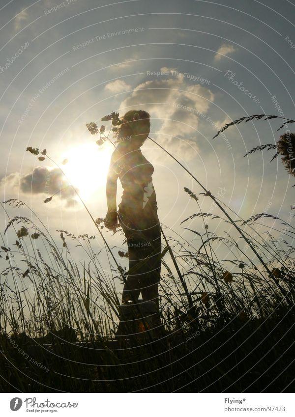 Woman Human being Sun Summer Black Clouds Grass Wind Large Self portrait Blow Mole Summer evening