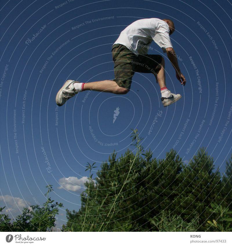 Sky Man Plant Joy Forest Jump Bird Flying Tall Aviation Barrier Dynamics Departure Sneakers Botany Sky blue
