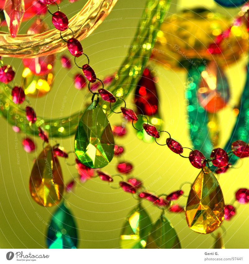 Green Red Yellow Lamp Glass Design Kitsch Jewellery Turquoise Trashy Chain Pearl Cheap Arts and crafts  Acrylic Chandelier