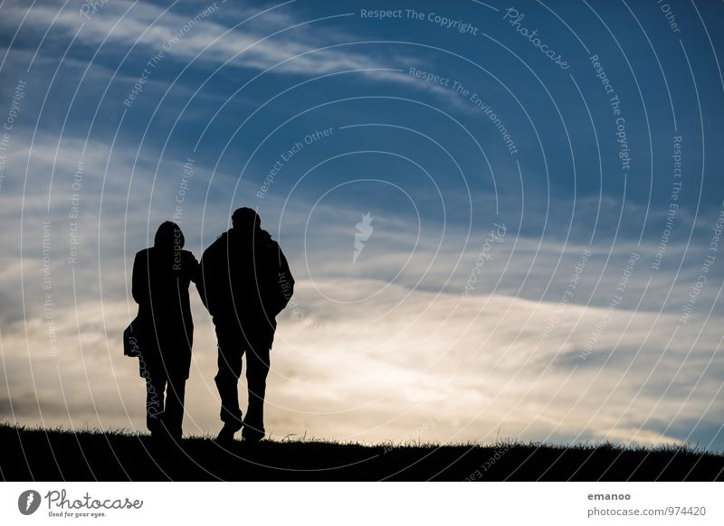 in pairs over the horizon Vacation & Travel Trip Far-off places Freedom Mountain Hiking Human being Couple Partner Senior citizen Life 2 Landscape Sky Clouds