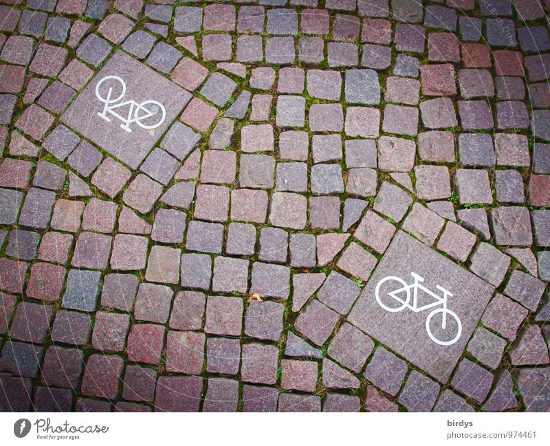 two-way traffic Cycling Road sign Cycle path Cobblestones Sign Signs and labeling Esthetic Exceptional Uniqueness Modern Original Design Arrangement Town