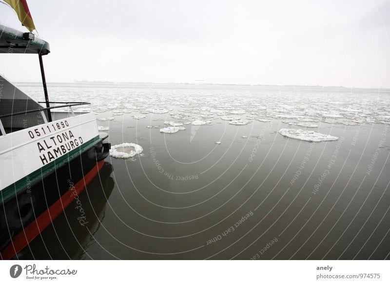 Hamburg on ice Nature Landscape Water Coast River bank Elbe Deserted Navigation Inland navigation Passenger ship Ferry Serene Calm Loneliness Cold Ice floe