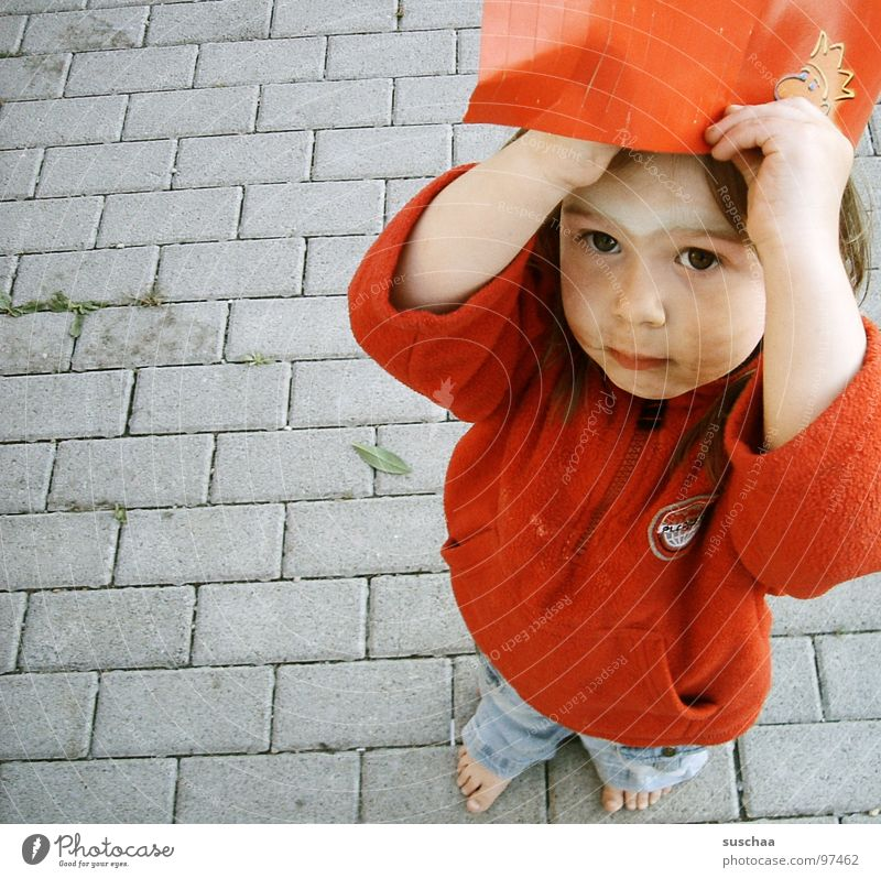 Child Red Street Feet Dirty Paper Cap Boredom Toddler Barefoot Painted Headwear
