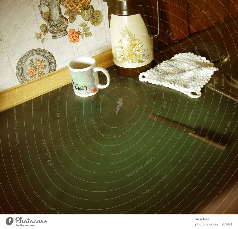Flat (apartment) Transience Wallpaper Cup Knives Wallpaper pattern Crockery Homey Oven cloth Coffee pot