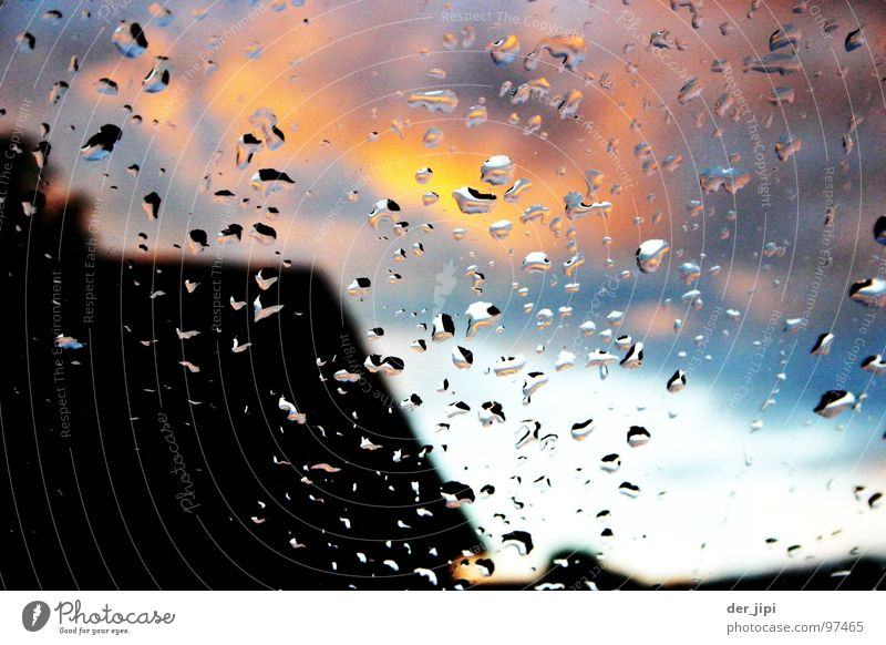 The sky burns Clouds House (Residential Structure) Roof Water Condense Window Wet Damp Sky Summer Drops of water Glass Window pane unsharpness Blaze Sun