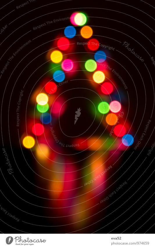 Abstract background Christmas lights Decoration Background picture Shallow depth of field Christmas tree celebration Multicoloured Reflection Blur Magic Light