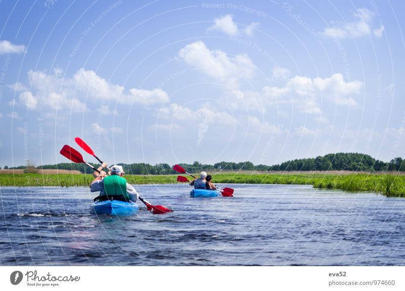 Elderly couples kayaking on river Human being Woman Sky Nature Vacation & Travel Man Water Summer Sun Landscape Joy Senior citizen Feminine Couple Friendship