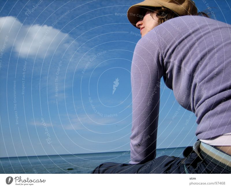 blue 01 Woman Beach Ocean Clouds Think Observe Relaxation Dream Cap T-shirt Pants Joy Water Face ponder Looking obsessed Hat Sit