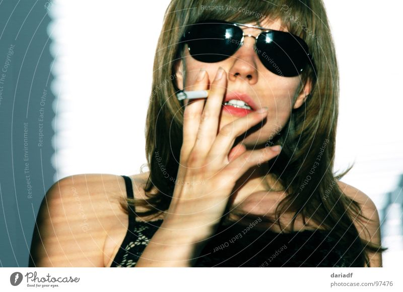 ...see the sky in my sunglasses Woman European Summer Sunglasses Cigarette Arrogant Portrait photograph Interior shot Youth (Young adults) Smoking portrait