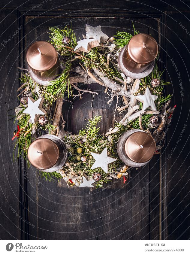 Advent wreath with christmas decoration and four candles Style Design Winter Flat (apartment) Decoration Christmas & Advent Ornament Tradition Christmas wreath