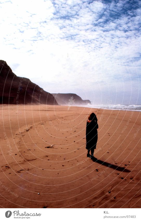 Woman Sky White Sun Blue Beach Vacation & Travel Black Clouds Loneliness Far-off places Yellow Mountain Sand Brown Coast