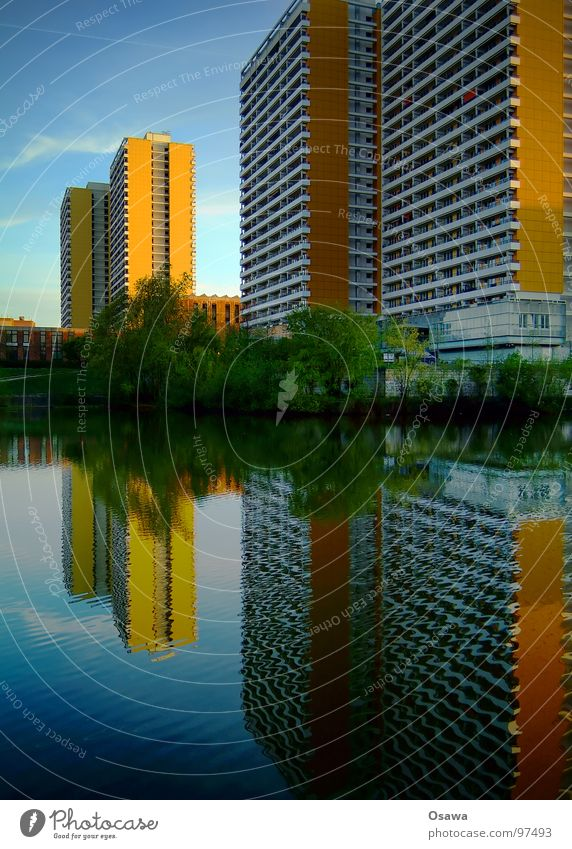 Blue Water Green Tree House (Residential Structure) Window Berlin Architecture Building Lake Orange Facade Concrete Modern High-rise Gloomy
