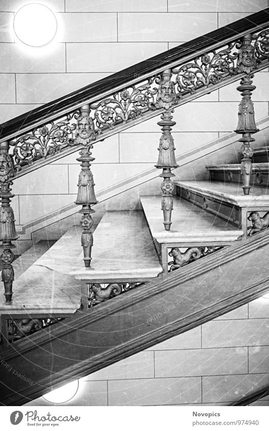 Schwerin Palace staircase Interior design Room Architecture Stairs Black White stagger Staircase (Hallway) Column rail Handrail Lock interior equipment