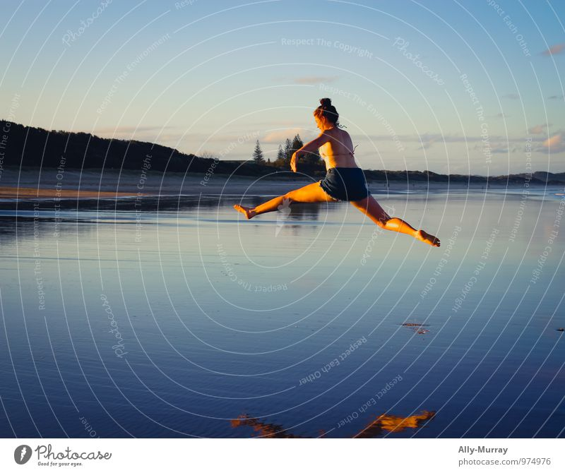 My first photo Human being Vacation & Travel Youth (Young adults) Blue Water Summer Young woman Ocean Joy 18 - 30 years Beach Adults Life Feminine Freedom Jump