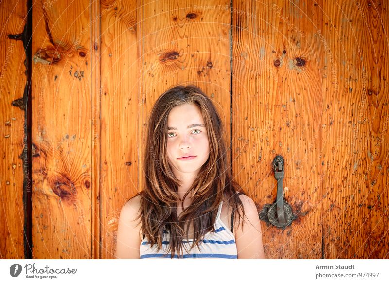 Human being Child Youth (Young adults) Old Beautiful Summer Feminine Brown Moody Lifestyle Door Authentic 13 - 18 years Stand Smiling Uniqueness